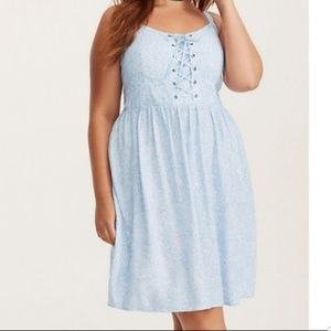 TORRID Blue floral challis dress w corset bust 2X